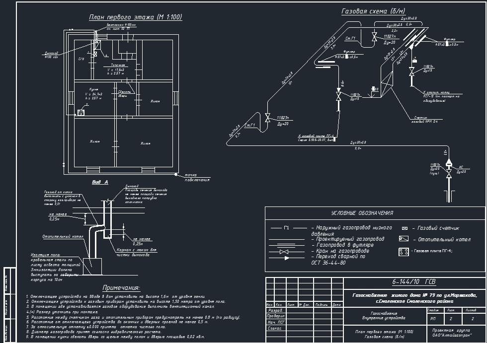 План Газоснабжения жилого дома